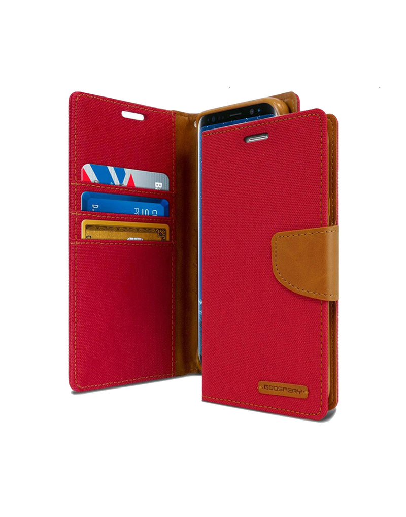 Goospery Canvas Diary Samsung Galaxy A7 Wallet Case A720 Red