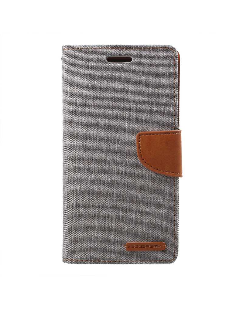 Goospery Canvas Dairy Samsung Galaxy J4 Plus Wallet Case Grey (Brand New) (5604323917985)