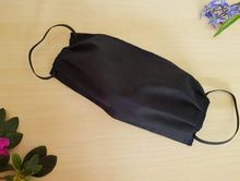 Load image into Gallery viewer, cotton handmade reusable face mask face covering black with a filter pocket