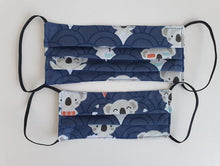 Load image into Gallery viewer, cotton handmade reusable face mask face covering koala blue