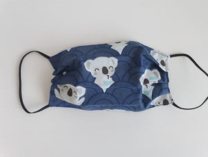 cotton handmade reusable face mask face covering koala blue
