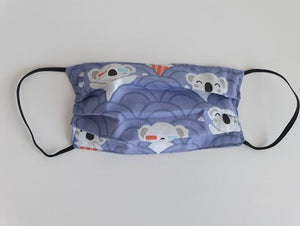cotton handmade reusable face mask face covering koala purple