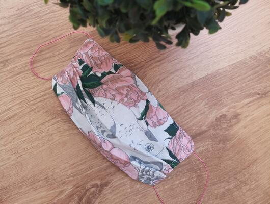 cotton handmade reusable face mask face covering peony