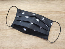 Load image into Gallery viewer, cotton handmade reusable face mask face covering black with white stars with a filter pocket