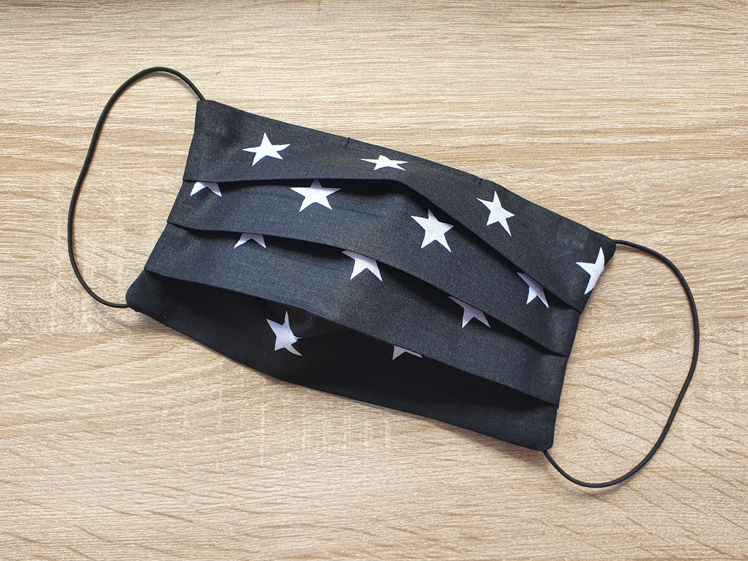 cotton handmade reusable face mask face covering black with white stars with a filter pocket