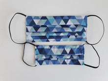Load image into Gallery viewer, cotton handmade reusable face mask face covering with dark blue triangles
