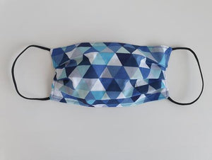 cotton handmade reusable face mask face covering with dark blue triangles