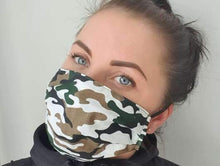 Load image into Gallery viewer, woman with cotton handmade reusable face mask face covering camouflage