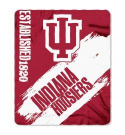 "Indiana Hoosiers Blanket - ""Painted""  Fleece Throw (50"" x 60"")"