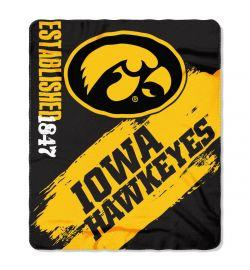 "Iowa Hawkeyes Blanket - ""Painted""  Fleece Throw (50"" x 60"")"