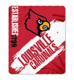 "Louisville Cardinals Blanket - ""Painted""  Fleece Throw (50"" x 60"")"