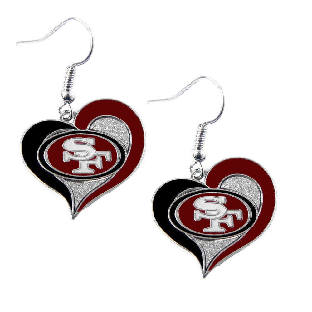 San Francisco 49ers Swirl Heart Dangle Earrings