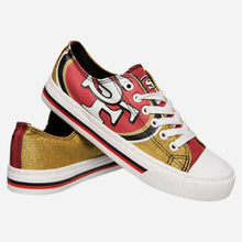 Load image into Gallery viewer, San Francisco 49ers Shoes - Womens Glitter Low Top Canvas Shoe