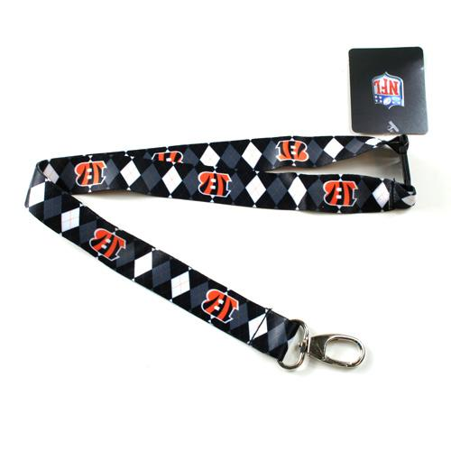 Cincinnati Bengals Lanyard - Argyle Lanyard Clip Keychain Key Ring Badge Ticket Holder