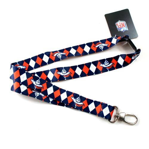 Denver Broncos Lanyard - Argyle Lanyard Clip Keychain Key Ring Badge Ticket Holder