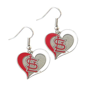 St. Louis Cardinals Earrings - Swirl Heart Dangle Earrings