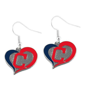 Cleveland Indians Earrings - Swirl Heart Dangle Earrings