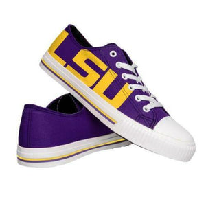 LSU Tigers Shoes - Mens Low Top Big Logo Canvas