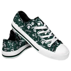 Michigan State Spartans Shoes - Womens Low Top Repeat Print Canvas Shoe
