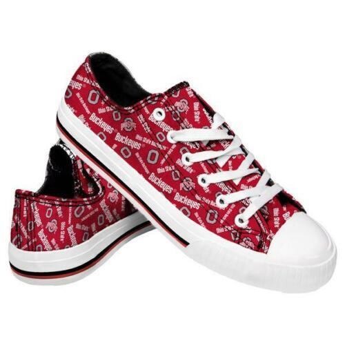 Ohio State Buckeyes Shoes - Womens Low Top Repeat Print Canvas Shoe