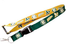 Load image into Gallery viewer, Oakland A's reversible lanyard - keychain badge holder
