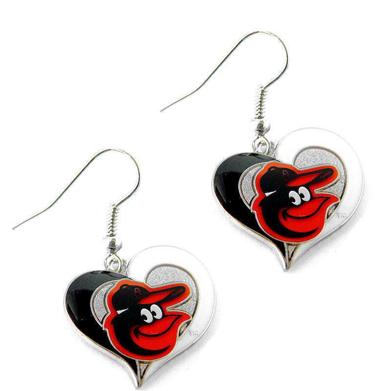 Baltimore Orioles Earrings - Swirl Heart Dangle Earrings