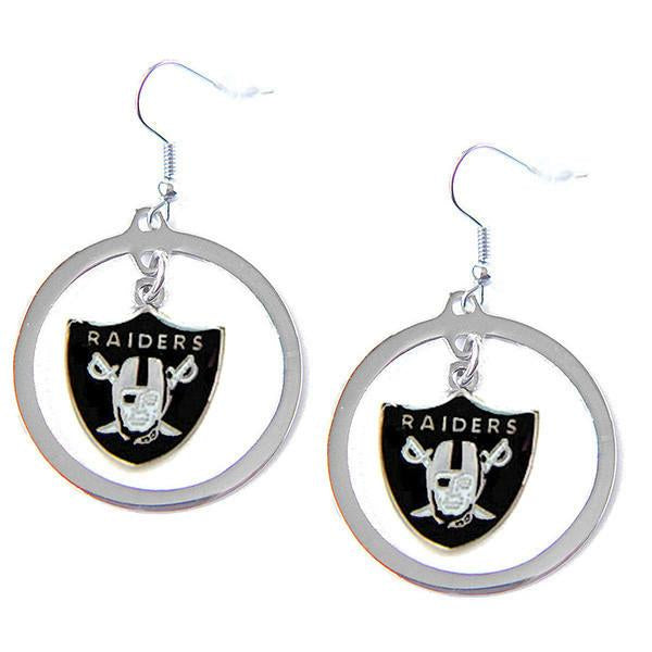 Las Vegas Raiders Earrings - Hoop Logo Dangle Earrings