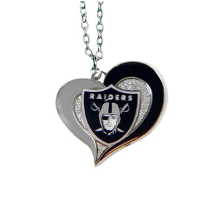 Las Vegas Raiders Necklace - Swirl Heart Logo Necklace
