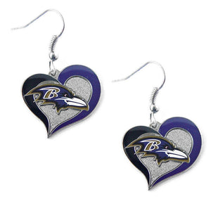 Baltimore Ravens Earrings - Swirl Heart Dangle Earrings