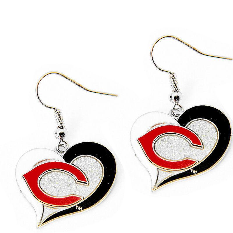 Cincinnati Reds Earrings - Swirl Heart Dangle Earrings