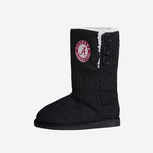 Alabama Crimson Tide Boots - Knit High End Button Boot Slipper