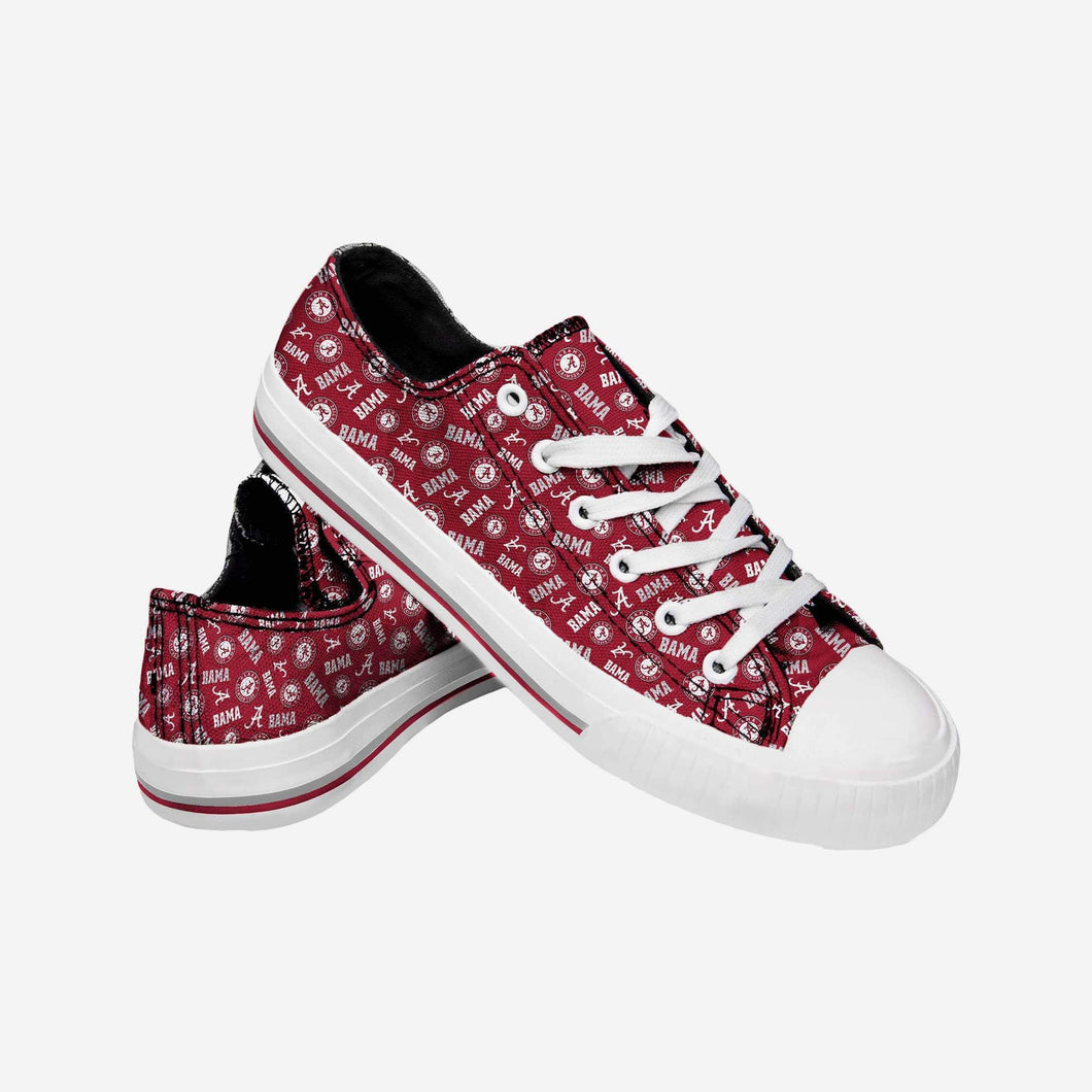 Alabama Crimson Tide Shoes - Womens Low Top Repeat Print Canvas Shoe