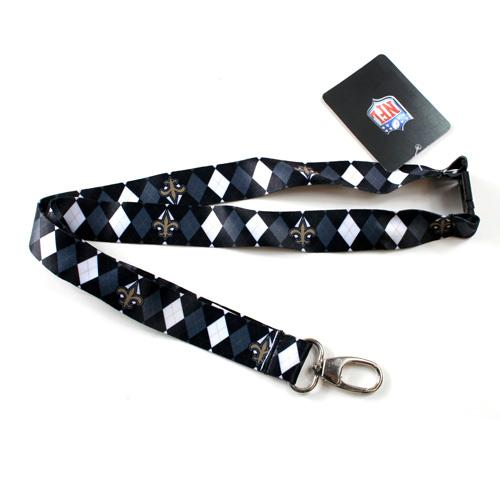 New Orleans Saints Lanyard - Argyle Lanyard Clip Keychain Key Ring Badge Ticket Holder