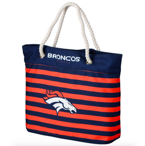 Denver Broncos Tote Beach Bag - Nautical Stripe
