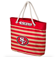 Load image into Gallery viewer, San Francisco 49ers Tote Beach Bag - Nautical Stripe