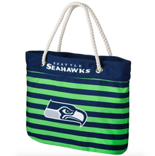 Load image into Gallery viewer, Seattle Seahawks Tote Beach Bag - Nautical Stripe