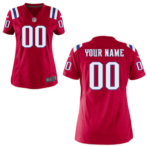New England Patriots Jersey - Women's Red Custom Game Jersey