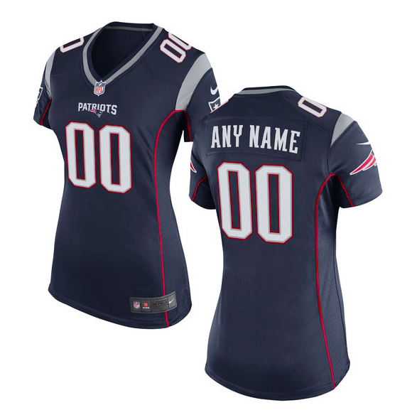 New England Patriots Jersey - Women's Navy Custom Game Jersey