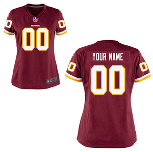 Washington Redskins Jersey - Women's Burgundy Custom Game Jersey