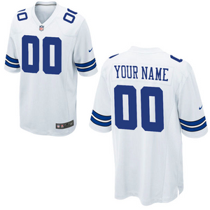 Dallas Cowboys Jersey - Men's White Custom Game Jersey