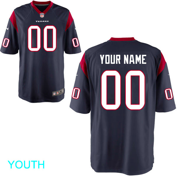 Houston Texans Jersey - Youth Navy Custom Game Jersey