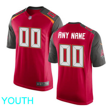 Load image into Gallery viewer, Tampa Bay Buccaneers Jersey - Youth Red Custom Game Jersey