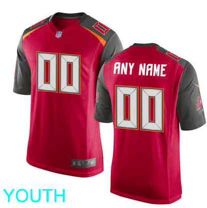 Tampa Bay Buccaneers Jersey - Youth Red Custom Game Jersey