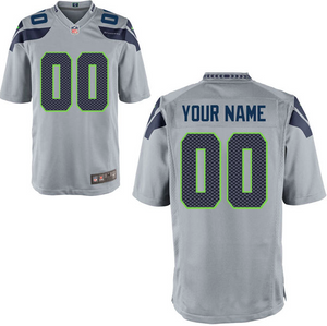 Seattle Seahawks Jersey - Men's Gray Custom Game Jersey