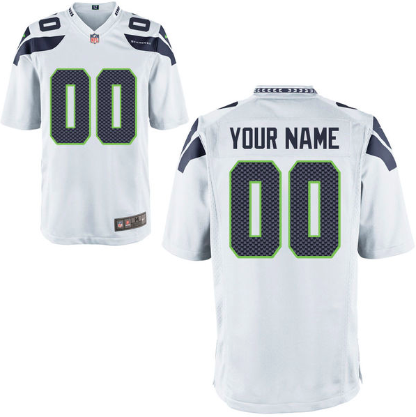 Seattle Seahawks Jersey - Men's White Custom Game Jersey