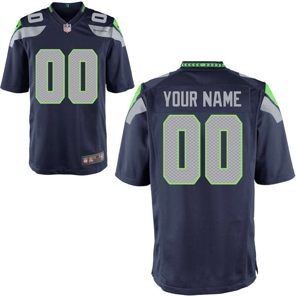 Seattle Seahawks Jersey - Men's Navy Custom Game Jersey