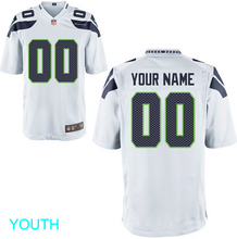 Load image into Gallery viewer, Seattle Seahawks Jersey - Youth White Custom Game Jersey
