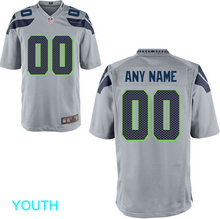 Load image into Gallery viewer, Seattle Seahawks Jersey - Youth Gray Custom Game Jersey