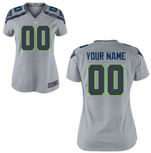 Load image into Gallery viewer, Seattle Seahawks Jersey - Women's Gray Custom Game Jersey