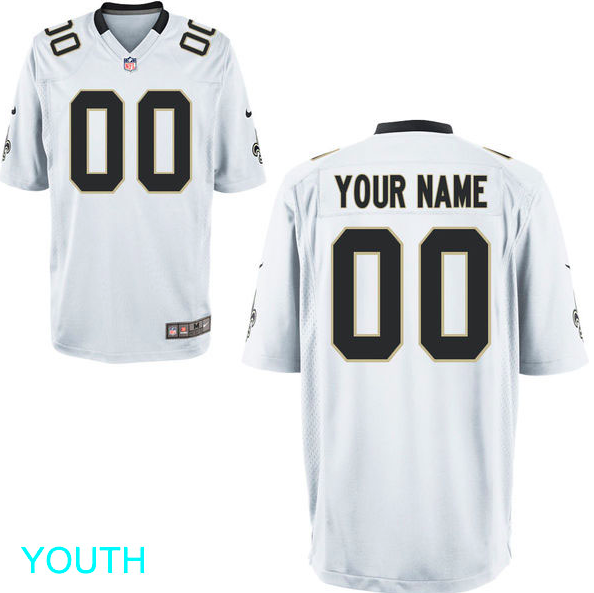 New Orleans Saints Jersey - Youth White Custom Game Jersey